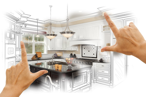 hands framing a kitchen sketch